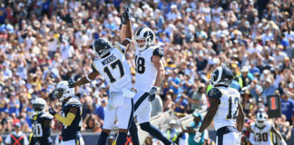 Top NFL Receiving Trios - Robert Woods of the Los Angeles Rams celebrates his touchdown catch with teammate Cooper Kupp.