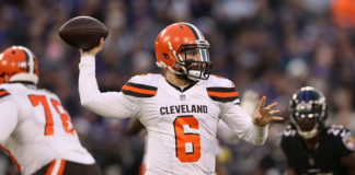AFC North Quarterbacks - Baker Mayfield drops back to pass