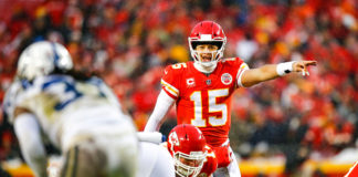 AFC West Quarterback Rankings - Patrick Mahomes signals at the line of scrimmage