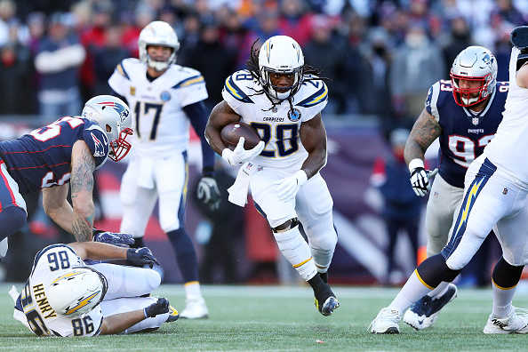 Melvin Gordon runs with the football during the AFC Divisional Playoff Game
