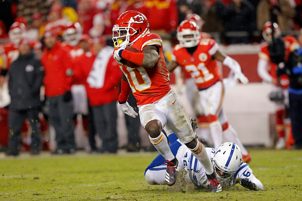 AFC West Fantasy Football Outlook - Kansas City Chiefs wide receiver Tyreek Hill (10) breaks the tackle of Indianapolis Colts long snapper Luke Rhodes.