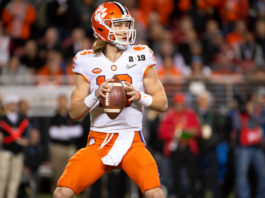 Heisman Trophy Candidates - Trevor Lawrence #16 of the Clemson Tigers throws a touchdown against the Alabama Crimson Tide.