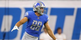 Week four daily fantasy: T.J. Hockenson #88 of the Detroit Lions look to block while playing the New England Patriots during a preseason game at Ford Field on August 08, 2019 in Detroit, Michigan.